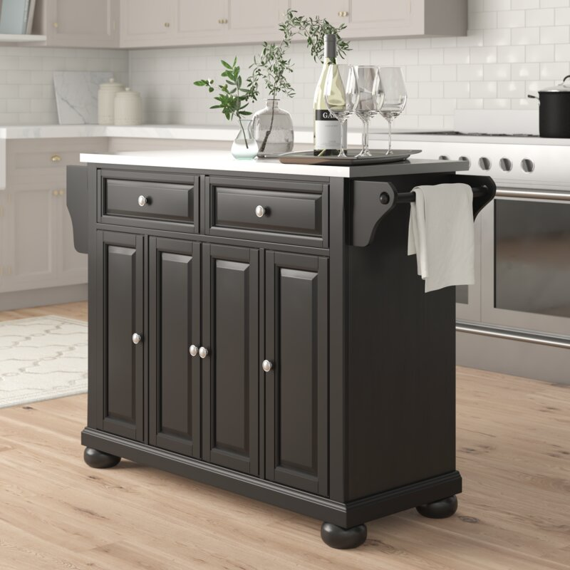 Three Posts Hedon Kitchen Island With Stainless Steel Top Reviews Wayfair