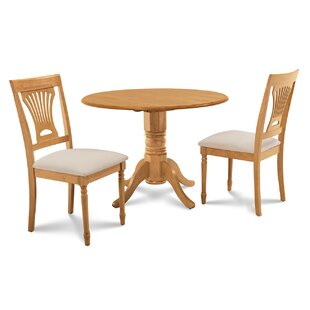 Chesterton 3 Piece Oak Solid Wood Dining Set Alcott Hill
