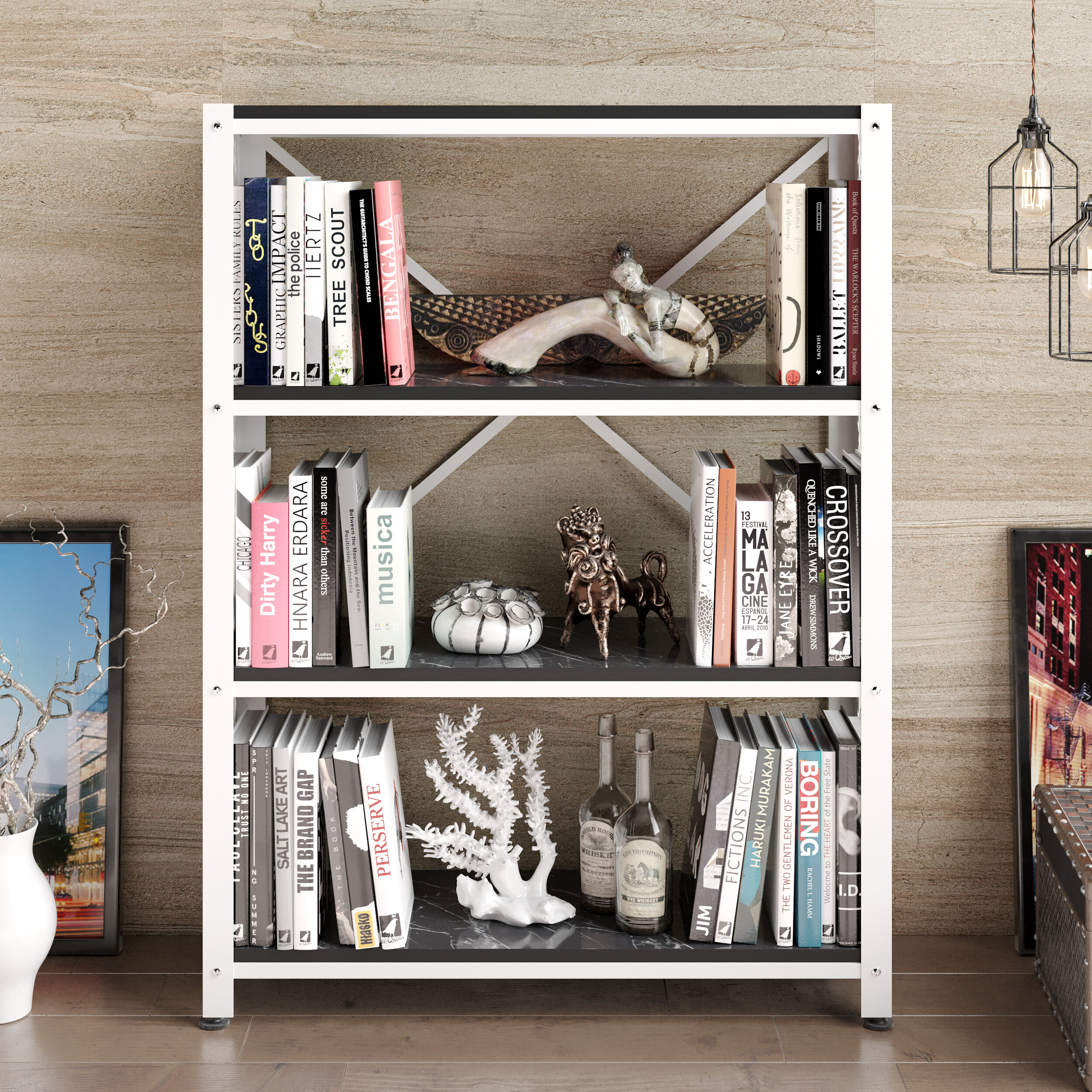 Mercer41 Peart 48'' H x 36'' W Metal Etagere Bookcase