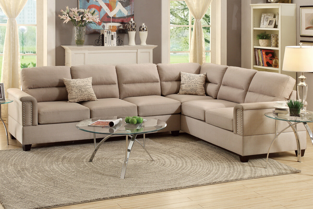 Ordinaire Poundex Bobkona Parrish Reversible Sectional U0026 Reviews | Wayfair