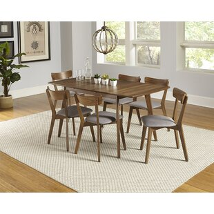 Bungalow Rose Rockaway 7 Piece Extendable Solid Wood Dining Set