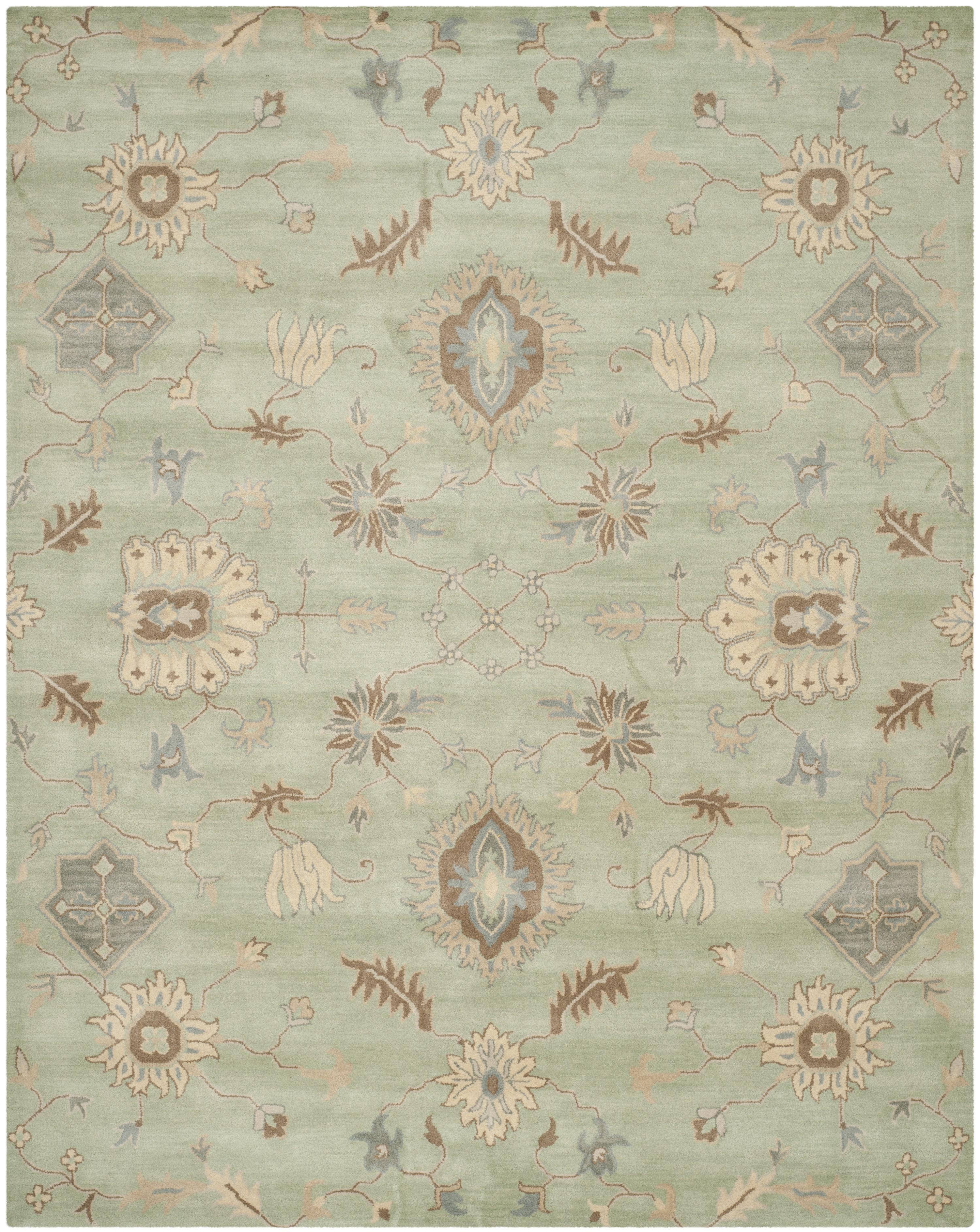 Safavieh Wyndham Floral Handmade Tufted Wool Light Green Cobalt Blue Brown Area Rug Perigold
