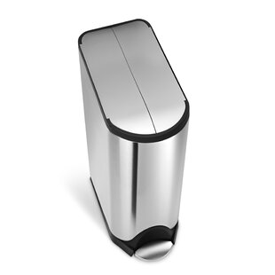 simplehuman 11.9 Gallon Butterfly Step Trash Can, Brushed Stainless Steel