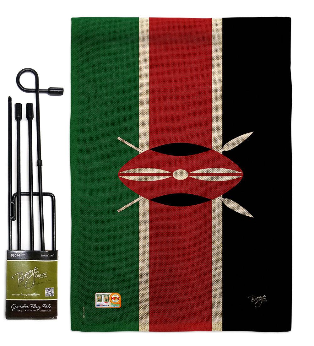 Breeze Decor Kenya The World Nationality Impressions 2 Sided Burlap 19 X 13 In Flag Set Wayfair