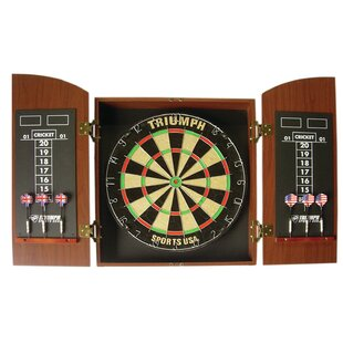 Wellington Bristle Dartboard Cabinet Set by Triumph Sports USA