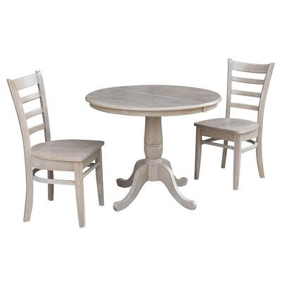 Petra Traditional Extendable Pedestal 3 Piece Solid Wood Bistro Set August Grove