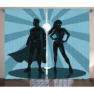 Superhero Man and Woman Superheroes Costume with Masks Capes Night Protector in Moonlight Graphic Print & Text Semi-Sheer Rod Pocket Curtain Panels (Set of 2) by East Urban Home