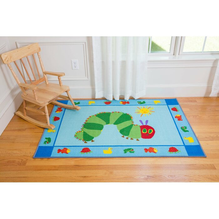 The Very Hungry Caterpillar Blue Green Area Rug