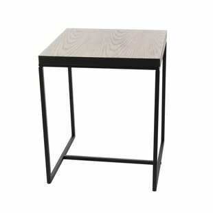 Contemporary 22 X 18 Inch Square Grey Wooden Accent Table With Black Iron Rim And Legs