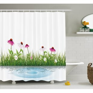Traci Coneflower By The Lake Water Sea Fall Hand Drawn Horizontal Print Single Shower Curtain
