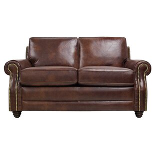 Alcott Hill Halligan Leather Loveseat