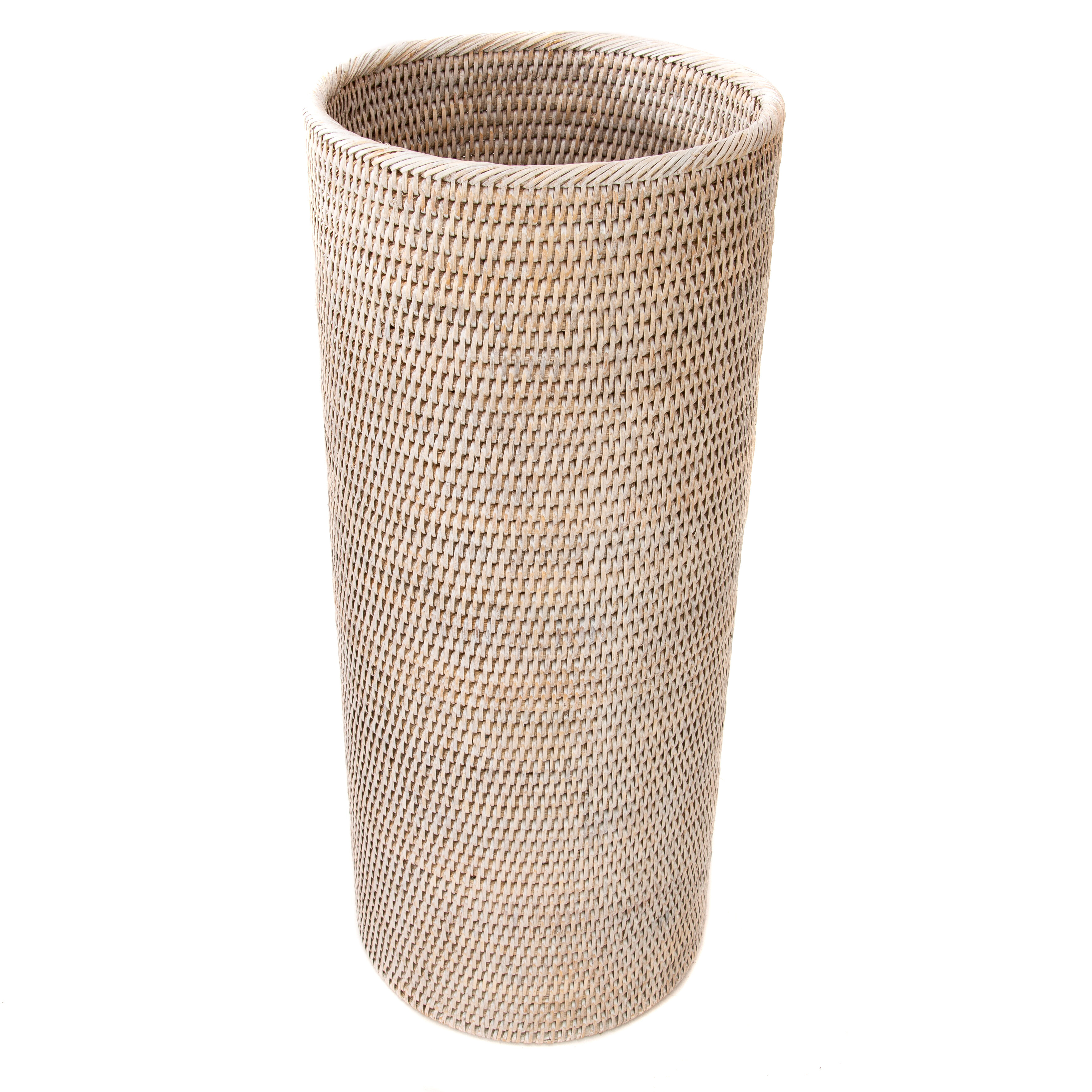 Basket Rattan Folding Wicker Handle Round Natural Sea Grass Plant Storage WoodBS