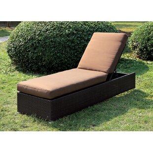 Latitude Run Lantry Patio Reclining Chaise Lounge with Cushion