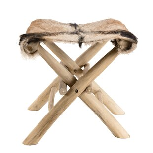Glover Teak Goat Skin Stool By Union Rustic