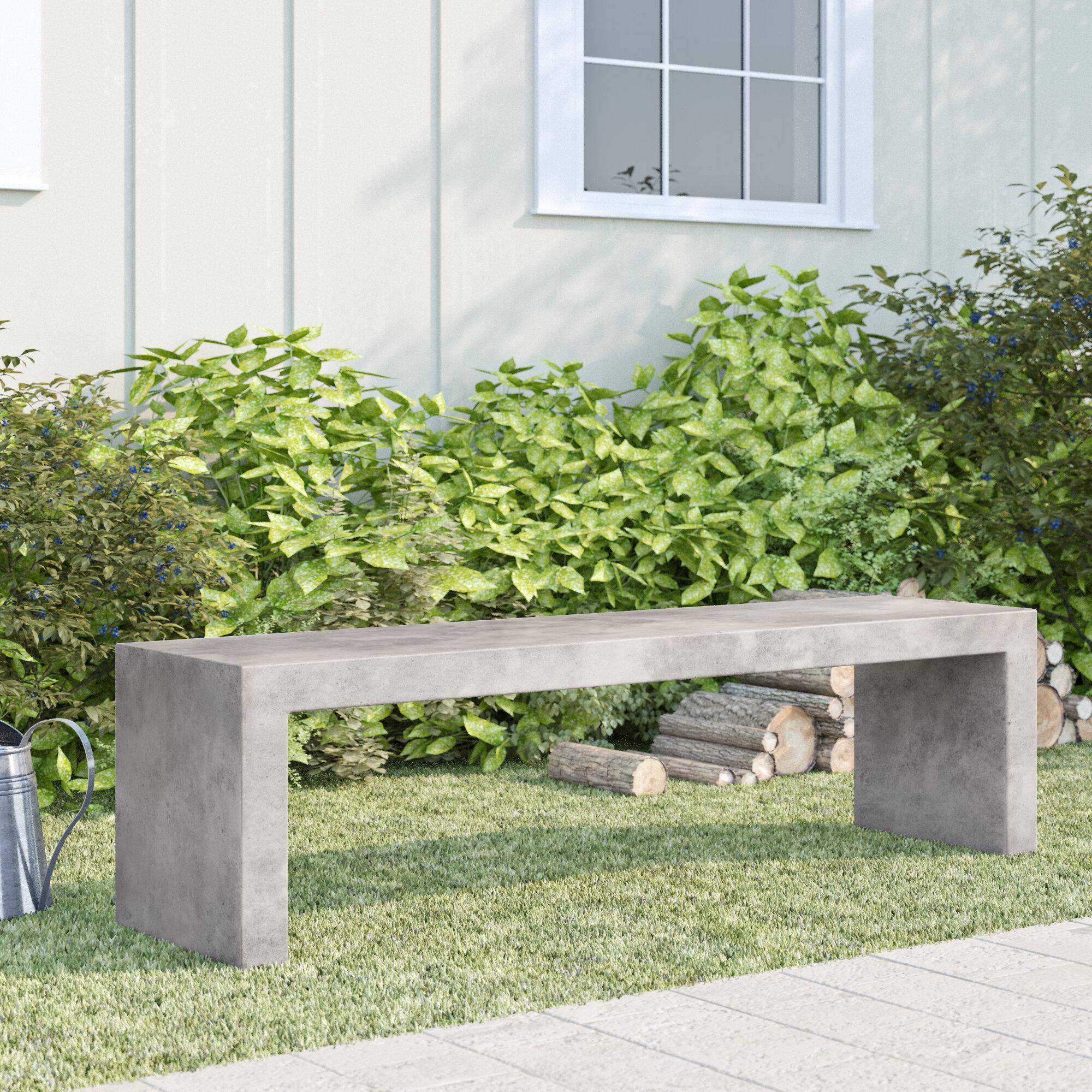 17 Stories Bertsch Backless Concrete Garden Bench Reviews Wayfair