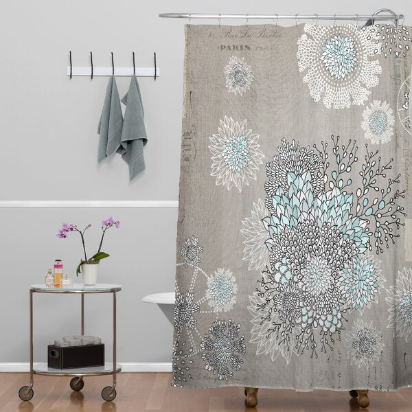 blue and gray shower curtain.  Bungalow Rose Holley Shower Curtain Reviews Wayfair