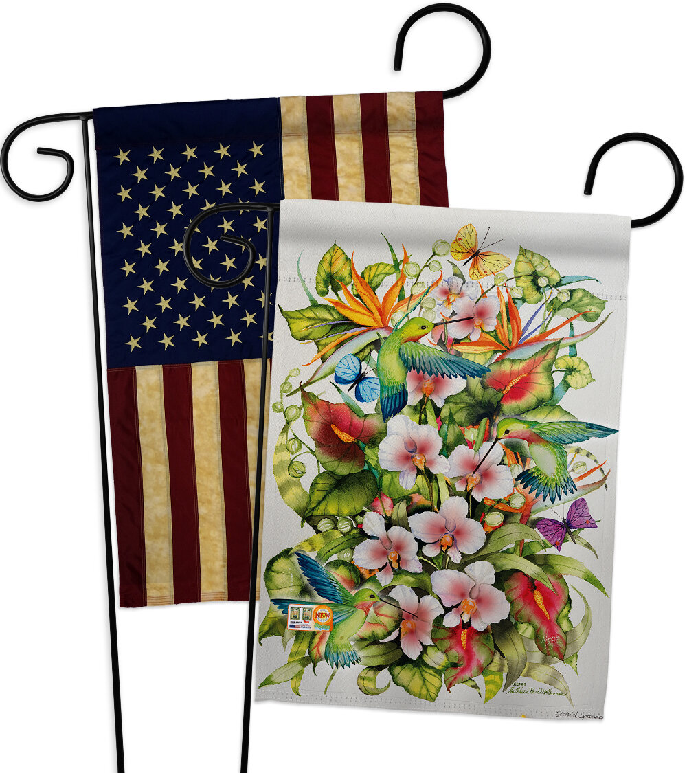 Bayou Breeze 2 Piece Orchid Splendor With Friends Impressions Decorative 2 Sided Polyester 19 X 13 Garden Flag Set Wayfair