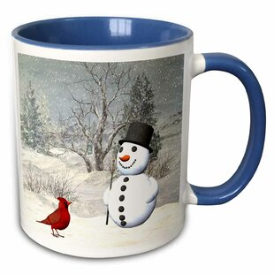 Cardinal and Snowman in Winter Coffee Mug