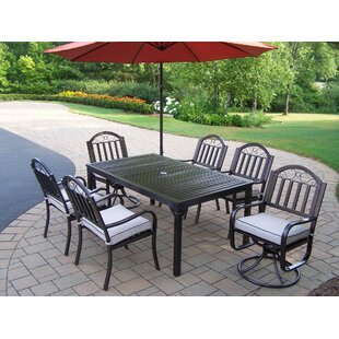 Red Barrel Studio Lisabeth 8 Piece Dining Set with Cushions and Umbrella