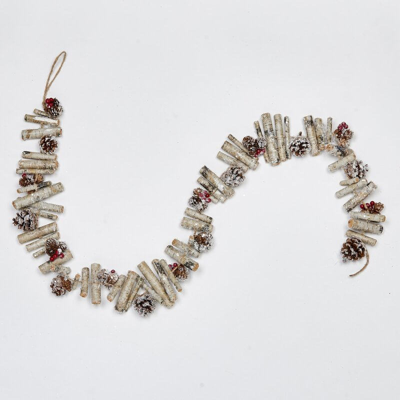 60 in Artificial Birch Log Garland