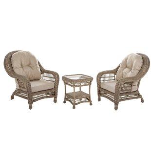One Allium Way Ophélie 3 Piece Rattan Conversation Set with Cushions