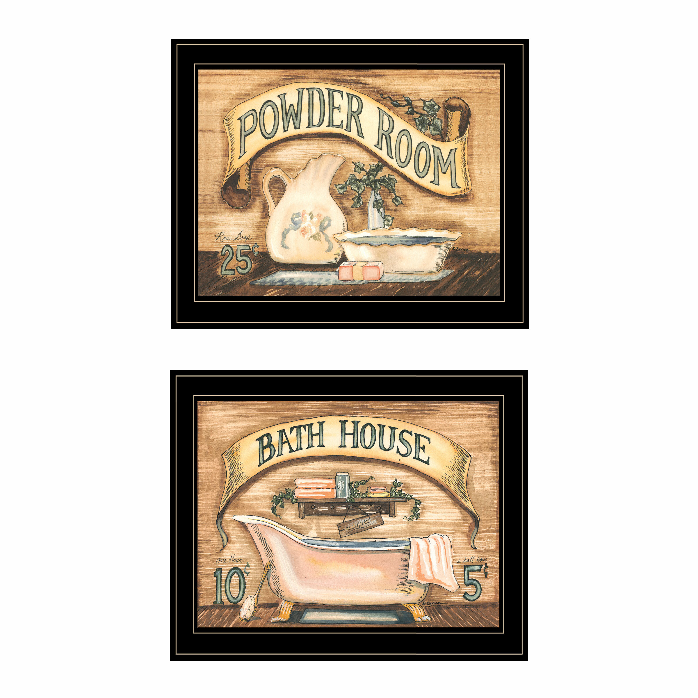 Bath Powder Room 2 Piece Framed Acrylic Painting Print Set