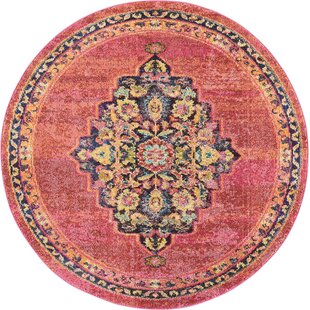 Lundy Traditional Medallion Pink Yellow Area Rug