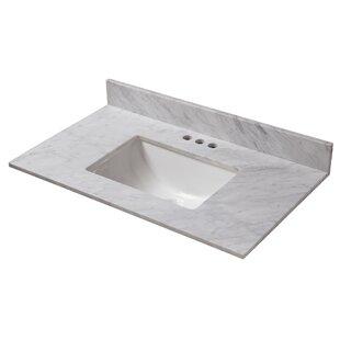 Compare prices Marble 37 Single Bathroom Vanity Top ByHalstead International
