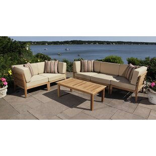 Madbury Road Bali 6 Piece Teak Sectional Set with Cushions