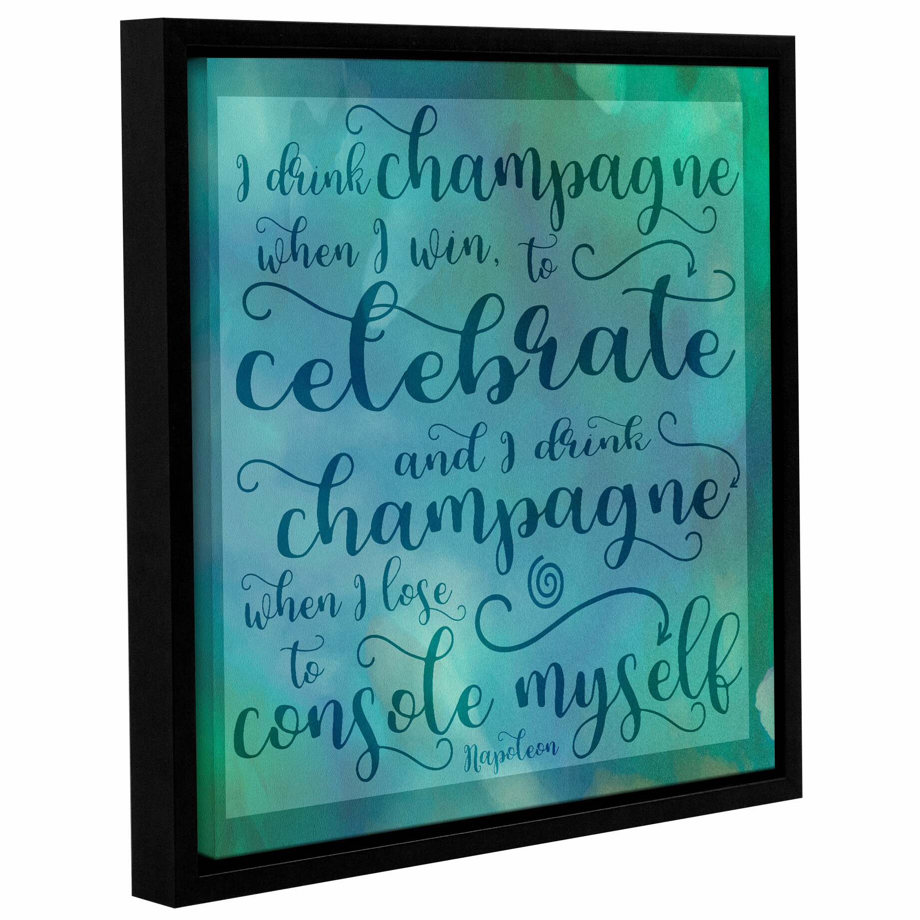 Winston Porter Champagne Celebrate Framed Textual Art On Wrapped Canvas Wayfair