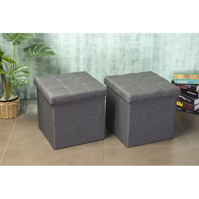 2-Pack Winston Porter RaNesha Tufted Storage Ottomans (Gray)