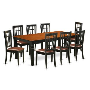 Beesley 9 Piece Black/Cherry Wood Dining Set