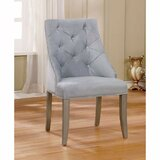 Willow Creek Tuffed Flannelette Upholstered Solid Back Side Chair in Blue (Set of 2) by Red Barrel Studio®