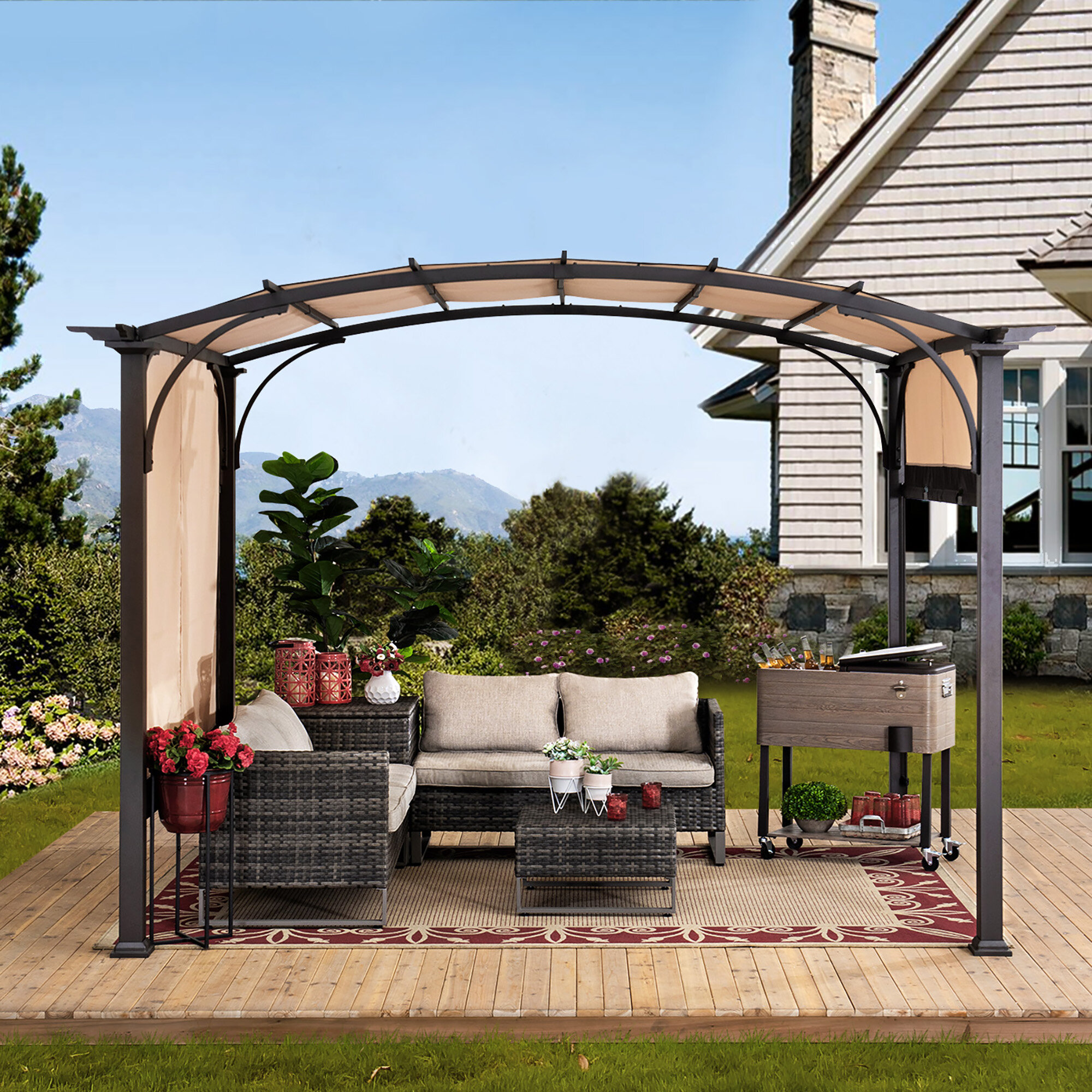 Sunjoy Meadow 114 W X 132 D Metal Pergola With Canopy Reviews Wayfair