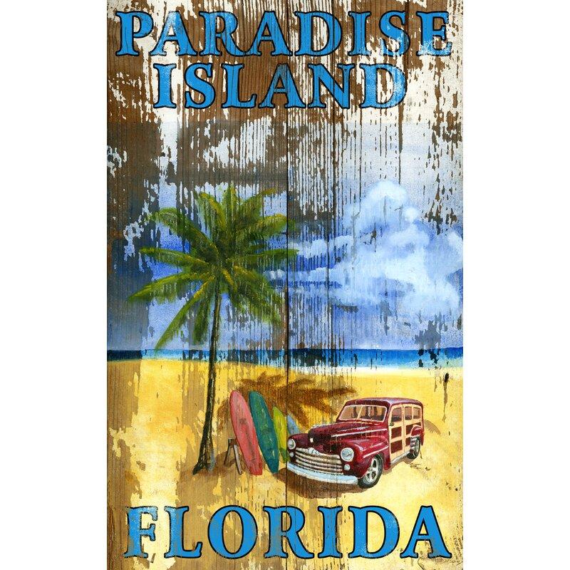 Bay Isle Home Beach Palm Vintage Advertisement Plaque Reviews Wayfair
