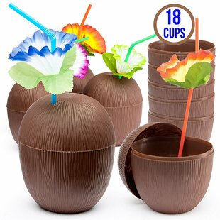 Coconut Plastic Straws & Drink Accessories (Set of 18)