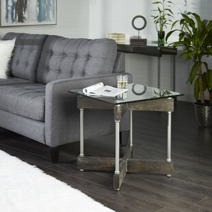 Reiner X-Frame Glass and Wood End Table