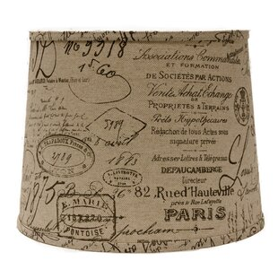 French Script 16 Linen Drum Lamp Shade