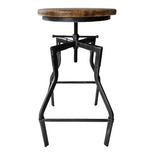 Hogle Adjustable Height Swivel Bar Stool by Williston Forge