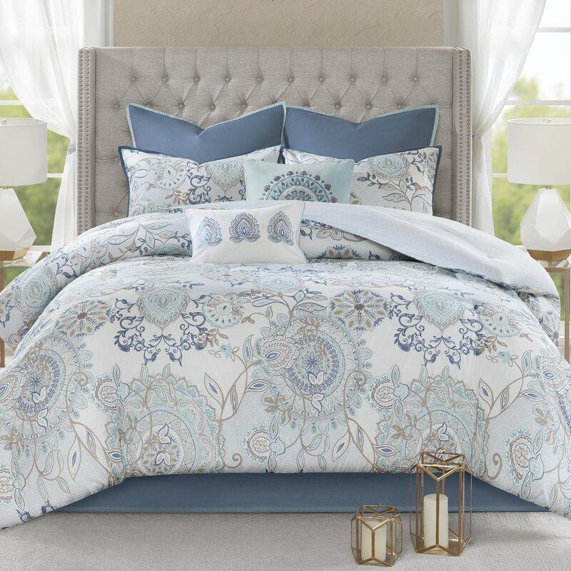 Charlton Home Kinsley 8 Piece Cotton Reversible Comforter Set ...