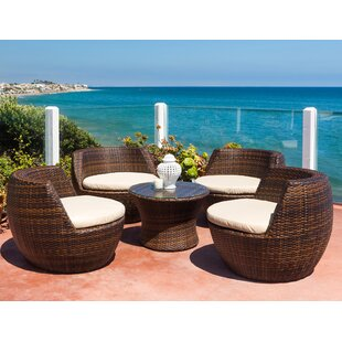 Ohana 5 Piece Rattan 2 Person Seating Group With Cushions By Ohana Depot