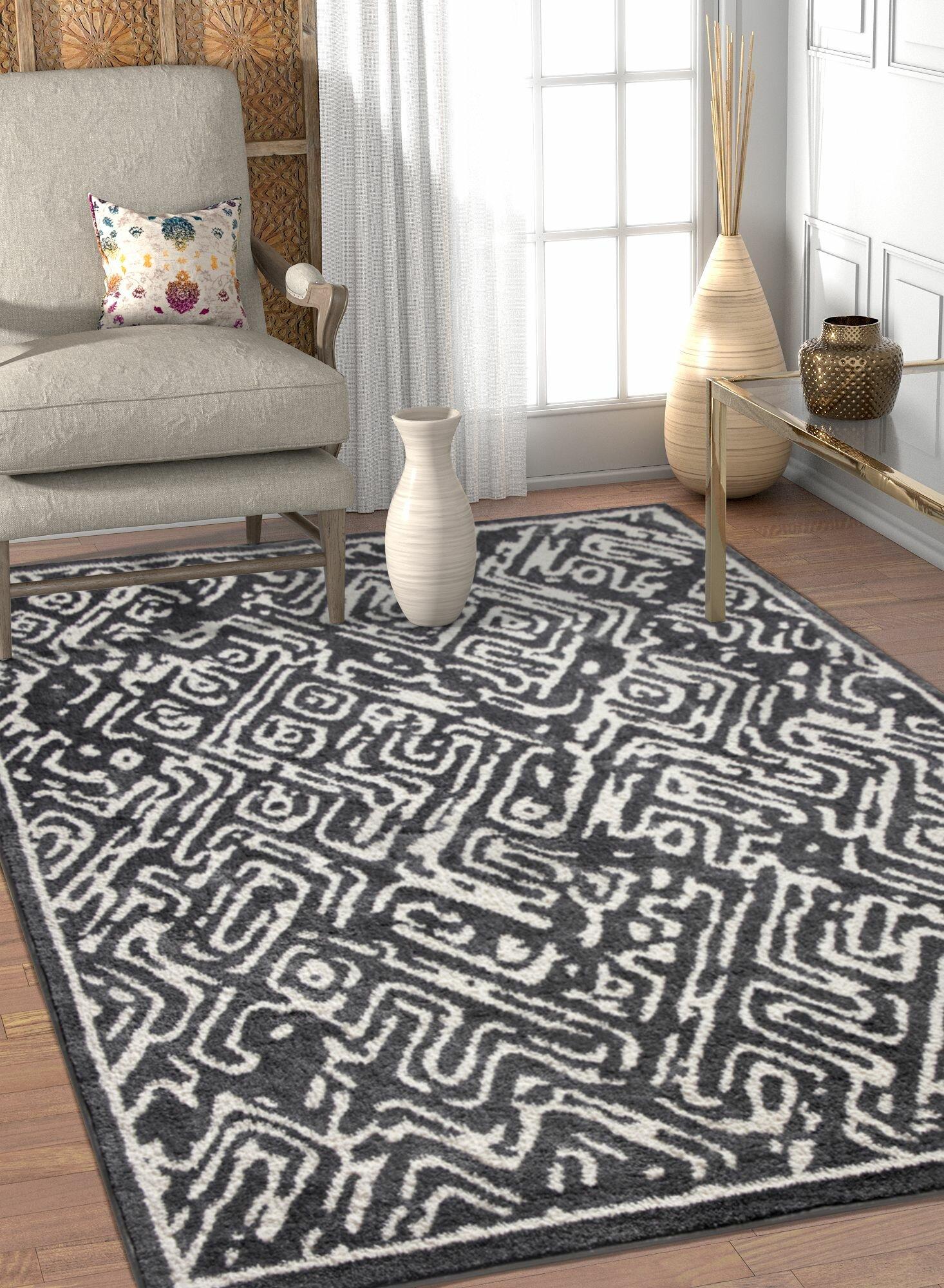 Ivy Bronx Dority Classic Modern Abstract Dark Gray White Area Rug Wayfair