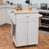 Alchiba Kitchen Cart with Solid Wood by Ebern Designs