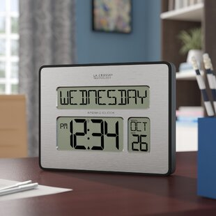 Digital clocks youll love wayfair atomic full calendar clock with extra large digits gumiabroncs Choice Image