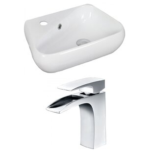 Savings Unique Ceramic 18 Wall Mount Bathroom Sink with Faucet and Overflow ByAmerican Imaginations
