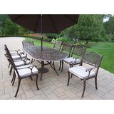 Mcgrady 9 Piece Dining Set with Cushions and Umbrella
