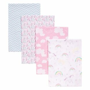 Inexpensive Tocco Unicorn Rainbow 4 Piece Receiving Blanket Set By Harriet Bee