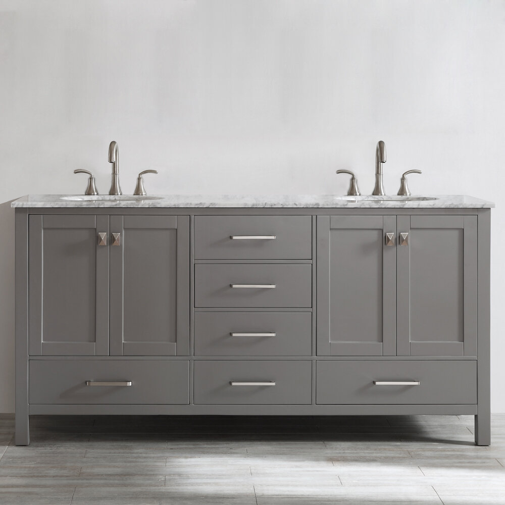 "Beachcrest Home Newtown 72"" Double Bathroom Vanity Set & Reviews 
