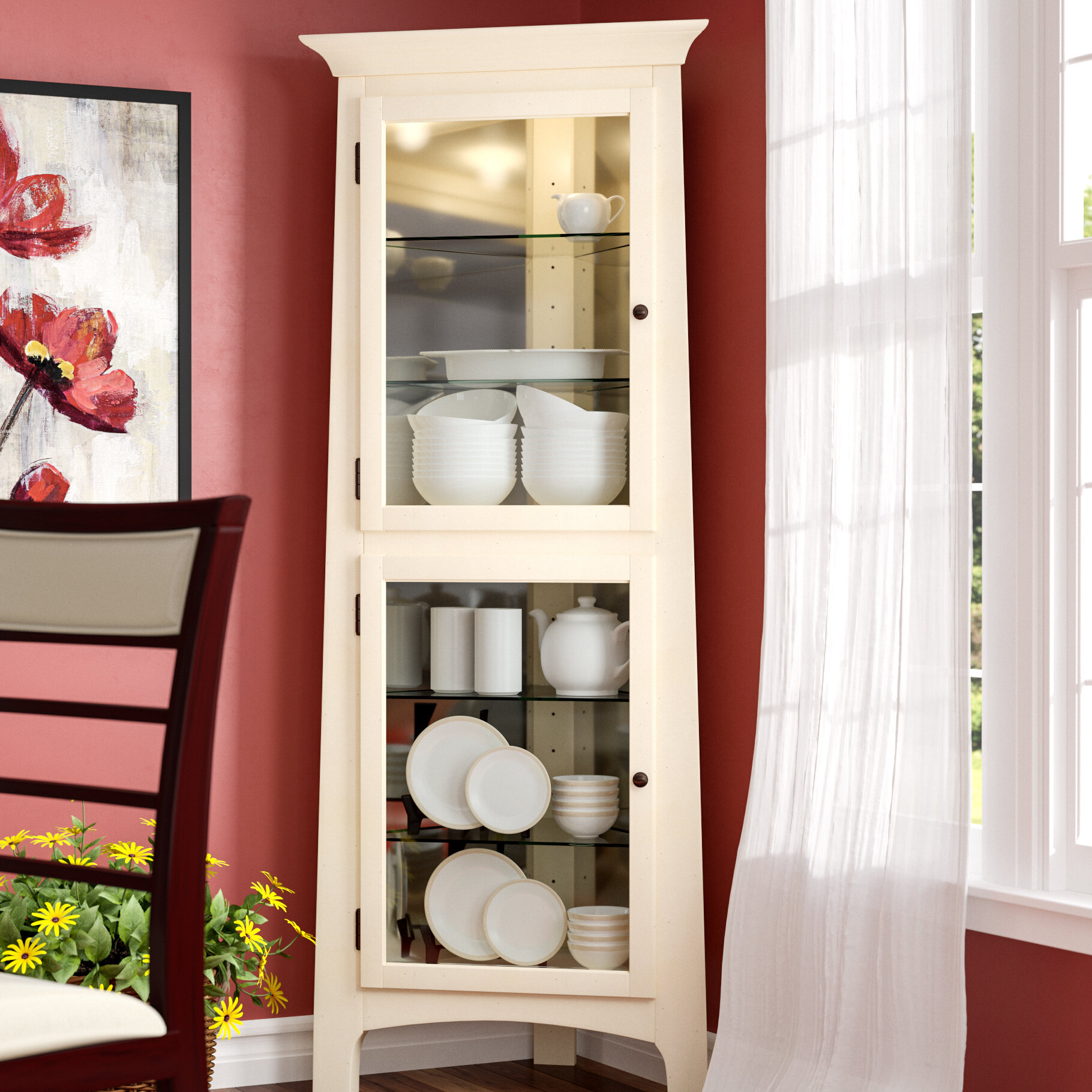 Red Barrel Studio Westview Lighted Corner Curio Cabinet U0026 Reviews | Wayfair