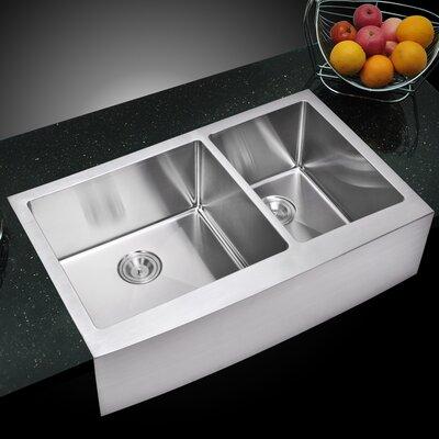 059 Corner Radius 6040 Stainless Steel 36 L x 22 W Double Apron Kitchen Sink dCOR design